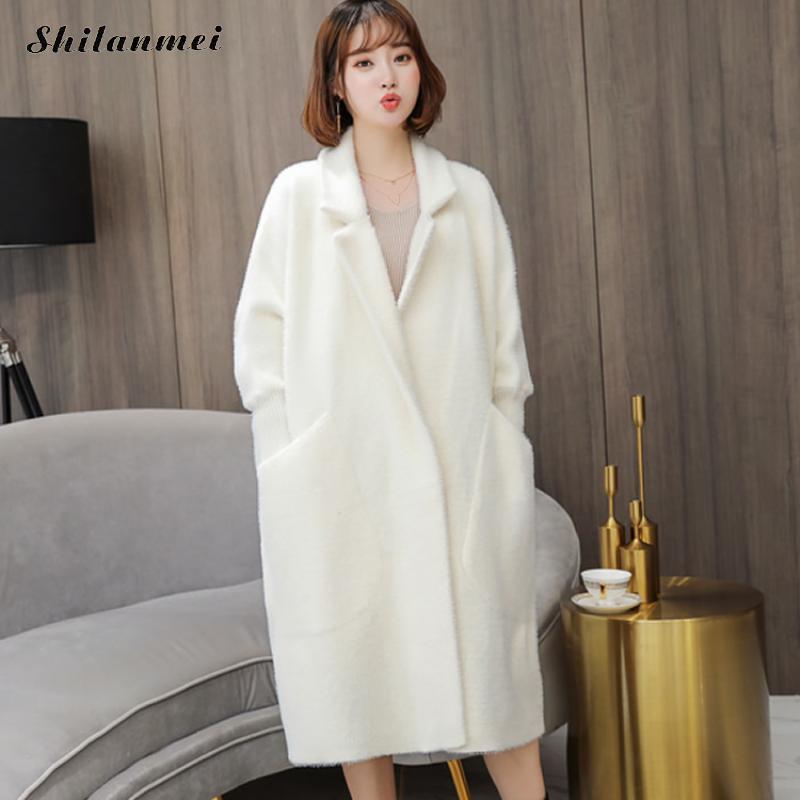 2018 New Thicken Warm Winter Wool Coat Fashion Loose Chic Lapel Faux Fur Causal Outwear High-End Pocket Long Women Wool Overcoat