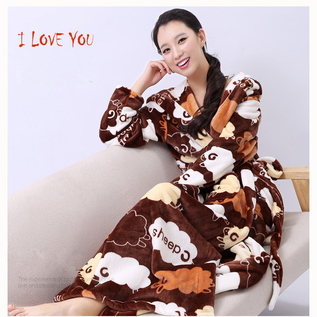 Women Sleepwear Long Robes Autumn And Winter NightgownThickening lounge  lovers lengthen flannel robe