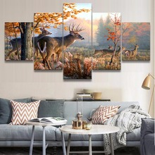 Wall Canvas Art Print Painting Picture 5 Panel Artistic Poster Animal Deer Fall Forest Home Decorative Kids Room