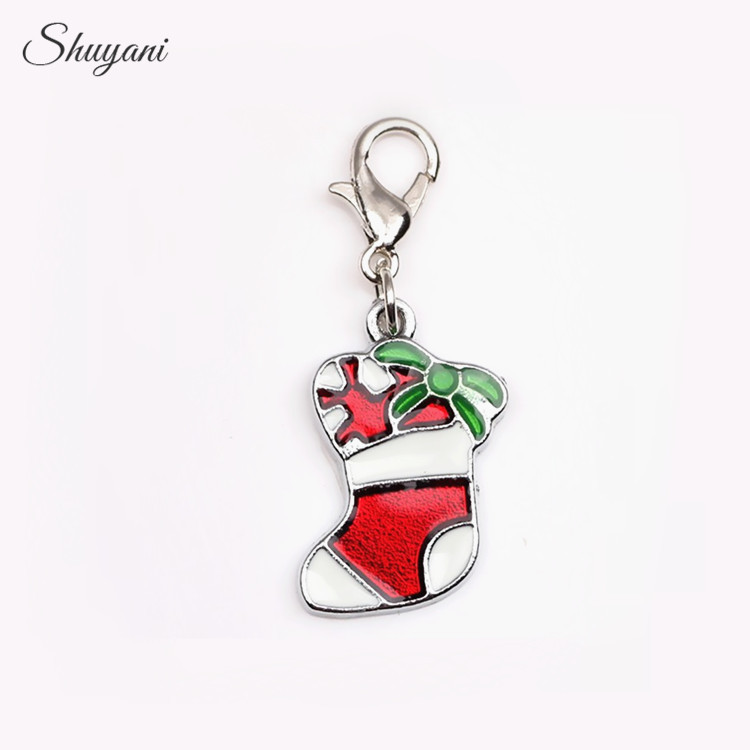 Christmas Gift 20pcs/lot Enamel Christmas Stockings Charms Pendant for Living Memory Locket with Lobster Clasp DIY Accessories