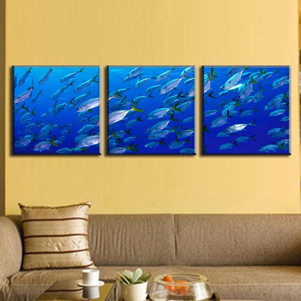 3 Pcs/Set Framed Canvas Wall Art Picture Deep Sea Fishes In Blue ...