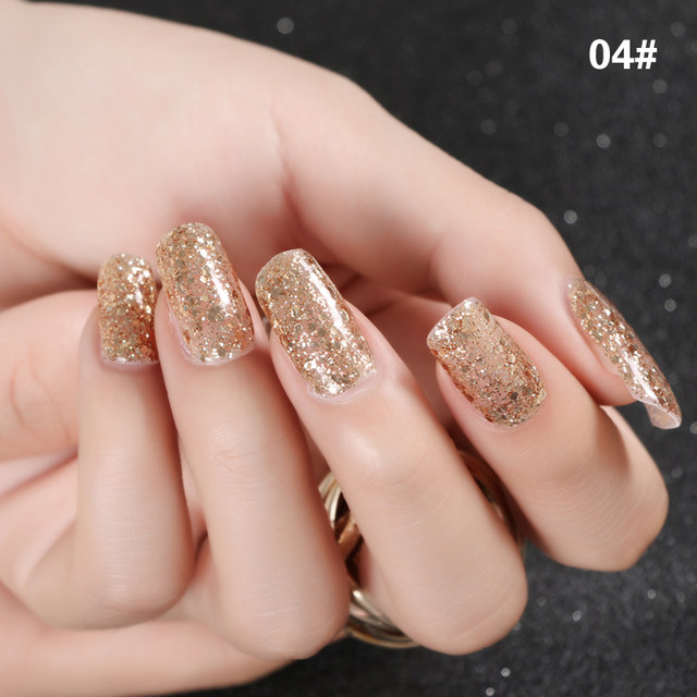 Online Shop New Nails Art Long Lasting Champagne Gold Nail Polish UV ...