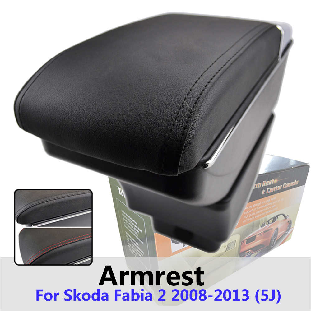 Xukey Central Armrest For Skoda Fabia 2 2008 - 2013 Console Center Black Storage Car Styling Box Ashtray 2010 2011