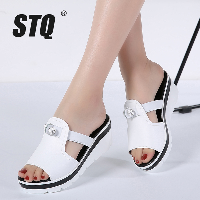1f03d525c9c452 2018 Summer women slippers genuine leather Open Toe Thick Soled sandals  Women Wedges Slippers black white slides sandals