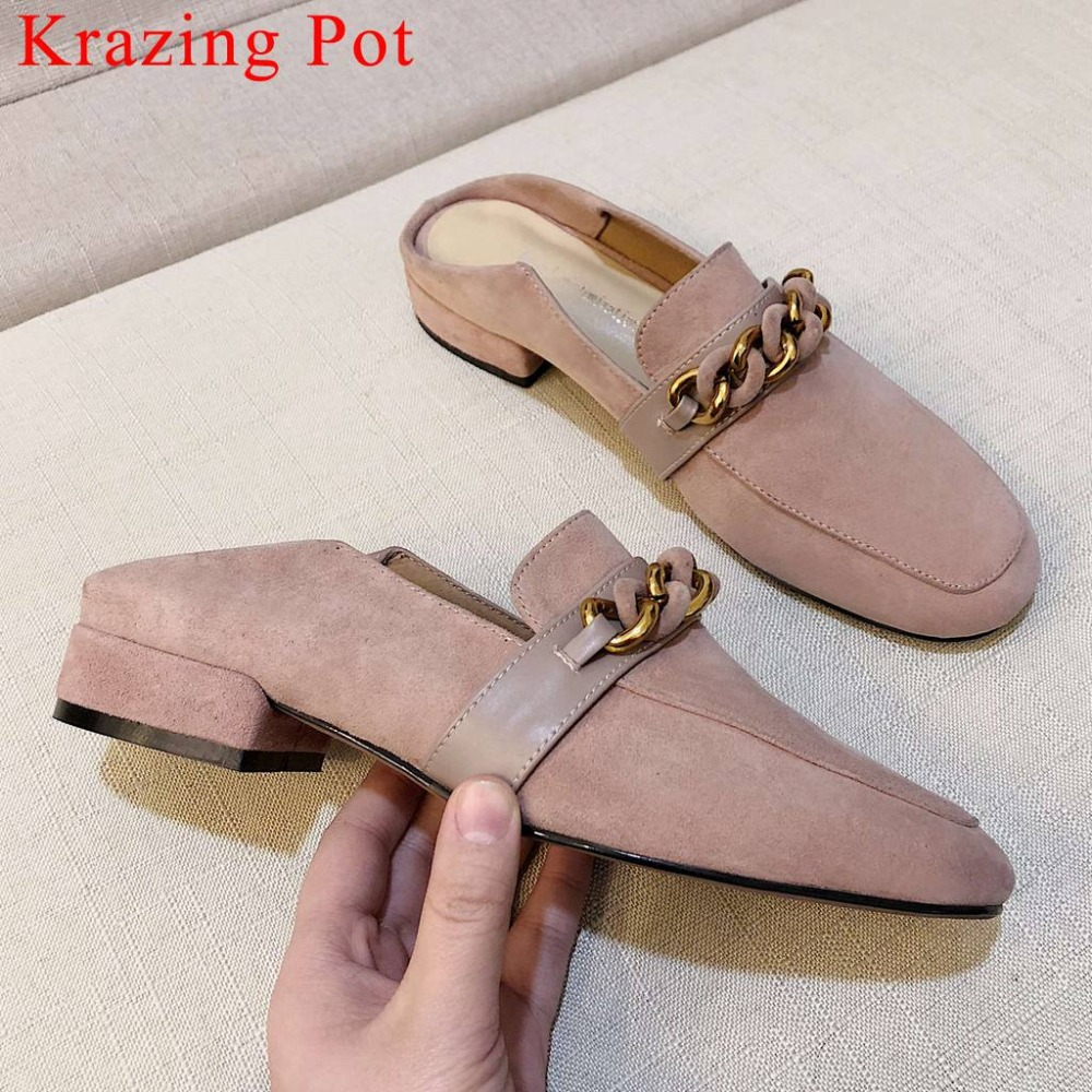 Krazing Pot sweet girls slip on mules Hollywood movie stars genuine leather chain decoration square toe dating party pumps L36Krazing Pot sweet girls slip on mules Hollywood movie stars genuine leather chain decoration square toe dating party pumps L36