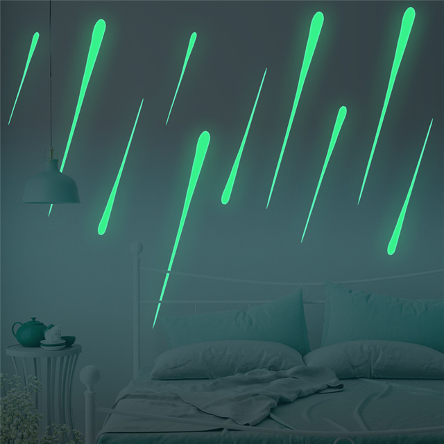 Luminous Removable Charming Meteor DIY Ceiling Sticker Fluorescent Mural  Paper Background Decorations For Chandelier Living Room