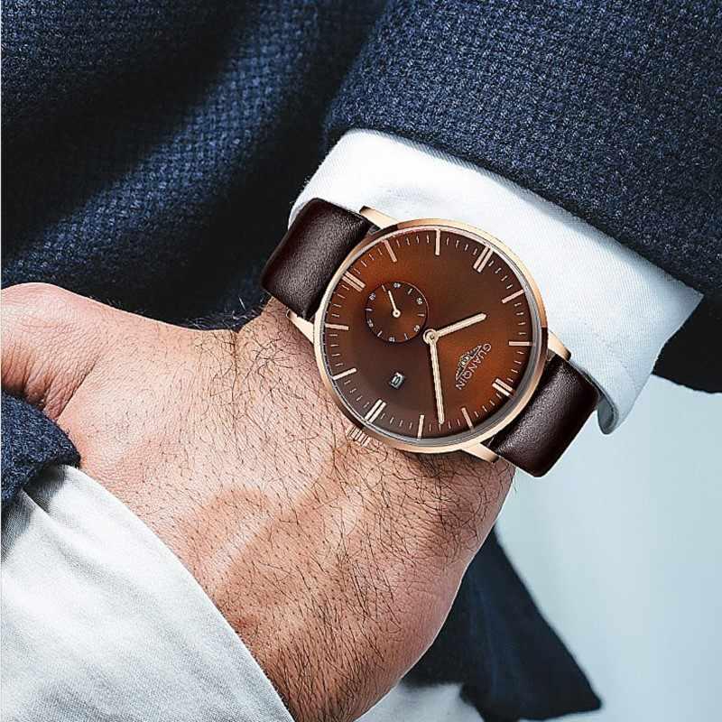 GUANQIN 新レトロメンズ腕時計トップブランドの高級クォーツ時計男性腕時計カレンダー発光小秒針レロジオ masculino