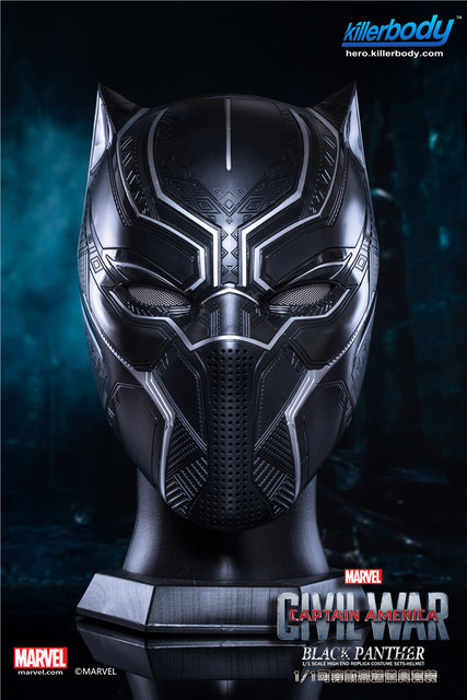Killerbody Civil War 1 1 Scale Black Panther Helmet Avengers Cosplay Full  Size Authentic 2705a9d35334