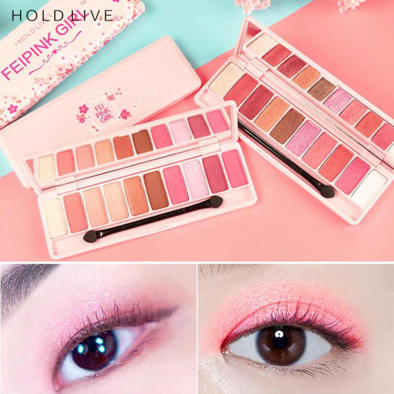 HOLD LIVE Brand Makeup Korean 10 Colors Peach Matte Eyeshadow Palette Pink Mermaid Pigment Glitter Wet