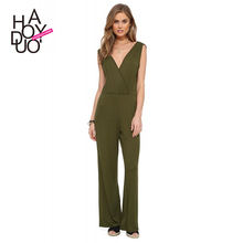 European Fashion Sleeveless Puckering Slim Waist Elegant Open Back Wide Leg Jumpsuits Overalls For Women