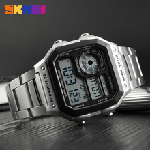SKMEI Mens Watches Relojes Deportivos Sports Watch Waterproof Stainless Steel Fashion Gold Digital Wristwatches Male Clock