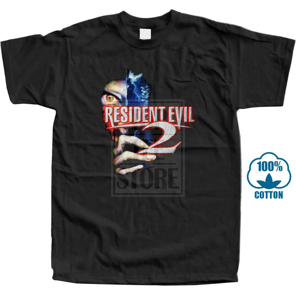 Casual   T     Shirt   Male Pattern Resident Evil 2 Logo   T     Shirt   In Sizes Sm 5Xl With Neck Tag In Black Plus Size Casual Clothing