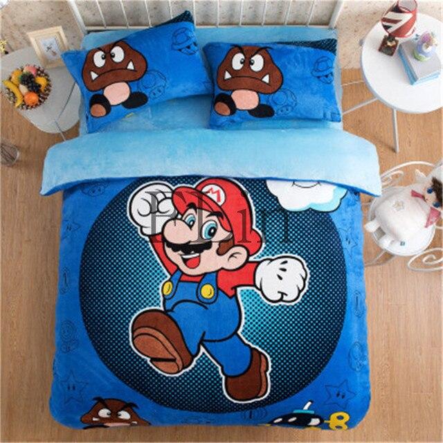 Azul precioso juego de cama de franela de dibujos animados Super