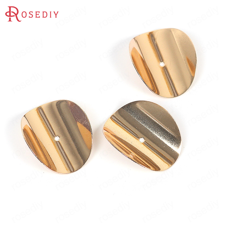 20PCS 2.5x2.1CM Gold Color Plated Brass Curved Spacer Round Tablets Diy Jewelry Findings Earrings Accessories Wholesale