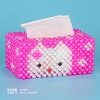 Handmade DIY olá kitty caixa de tecido frisado material acrílico decorações ornamentos acessórios para casa de carro