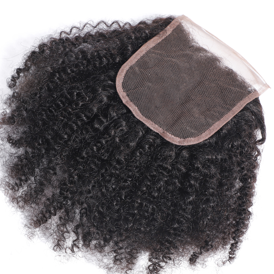 Image 2 - MOBOK Brazilian Human Hair Afro Kinky Curly closure 8 20Inch 4*4 Free Part Lace Closure Natural Color Remy Hair Weaving 1PC/Lot-in Closures from Hair Extensions & Wigs