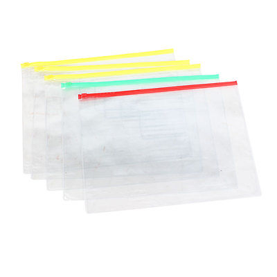 5 Шт. Прозрачный Пластиковый Доказательство Воды Ручка A4 Файл Бумаги Ziplock Сумки Папки
