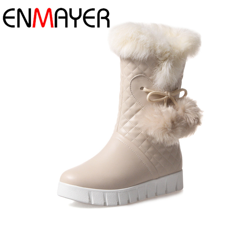 ФОТО ENMAYER New Winter Shoes Woman Mid-Calf Flats Shoes Woman Slip-on Round Toe Platform Big Size 34-43 Winter Boots White Shoes