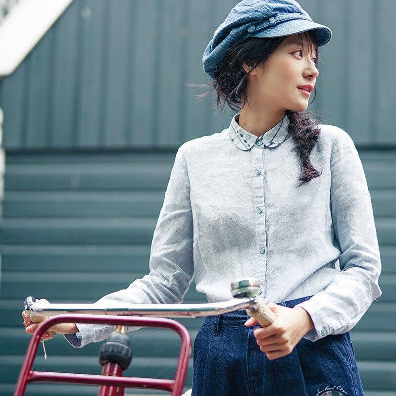 INMAN Women's Autumn New Printing doll collar Linen Shirt long sleeves Shirt vintage printing long sleeves shirt