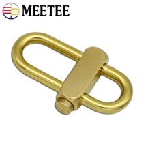 Meetee 6cm Solid Brass Spring Keychain Belt Buckle DIY Adjustable Metal Buckles Keychin Hooks Hangers Hardware Accessories AP492
