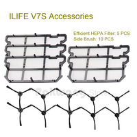 ILIFE V7S Robot Vacuum Cleaner Spare Parts Efficient HEPA Filter 5 Pcs And Side Brush 10