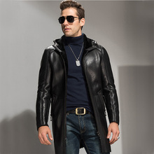 Men's X-Long Shearling Coat Black Leather Coat Genuine Leather Parka Oversized Men's Shearling Outerwear Luxury Menswear  TJ10