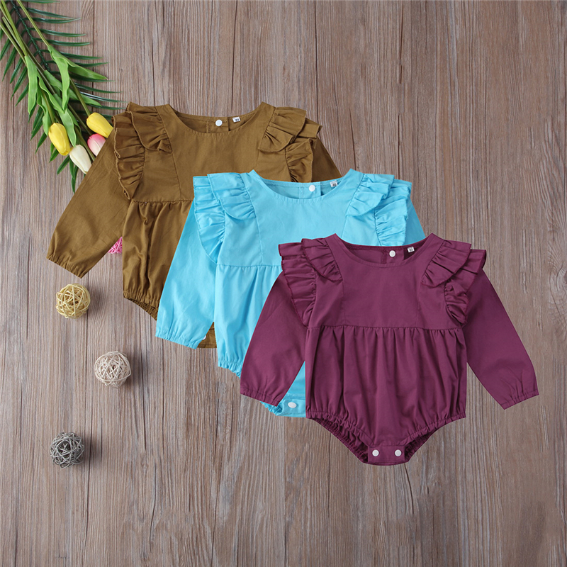 Baby Girls Ruffle Romper Cotton Newborn Baby Girl Clothes Long Sleeve Romper Bebes Body Suit For Newborns2017 New Jumpsuit 0-24M