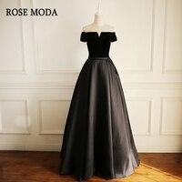 Rose Moda Off Shoulder Short Sleeves Black Formal Prom Dresses Long Lace Up Back Custom Make