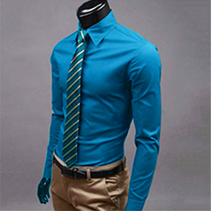Men's Fashion Casual Solid Candy Turn-Down Collar Cotton Blend Color Long Solid Long Sleeve Slim Fit Shirt Top Men Shirts 2019