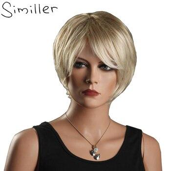 Similler アフリカアメリカ女性のかつらライトゴールド斜め前髪合成繊維の毛カーリー
