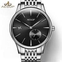 AESOP Simple Watch Men Automatic Mechanical Sapphire Crystal Thin Wrist Wristwatch Male Clock Relogio Masculino Minimalist