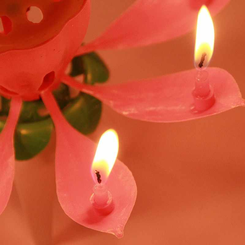 1pc Birthday Candle Romantic Music Candle Musical Lotus Flower Bougie Anniversary Pink Dont Revolving Party Diy Cake Decoration