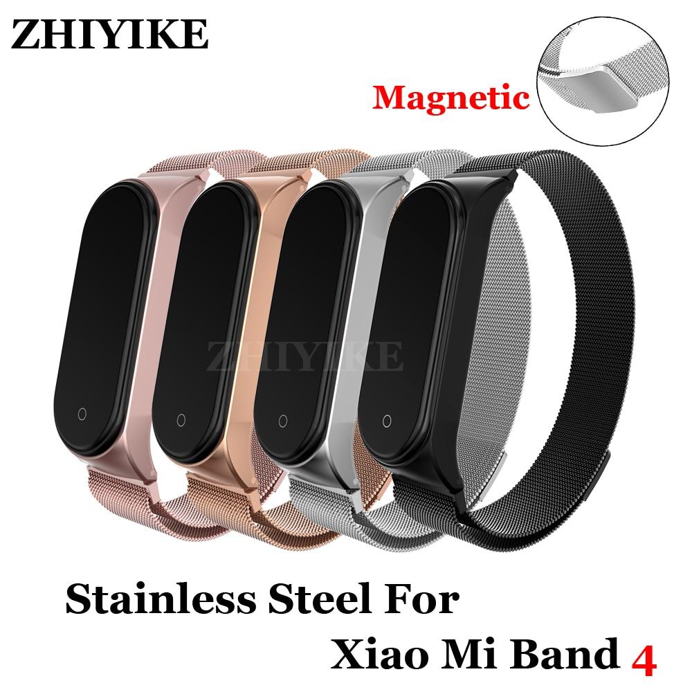 Bracelet Bracelet Bracelet pour Xiao mi bande 4 3 métal fermeture magnétique sangle acier inoxydable mi bande 4 poignet bande sans vis
