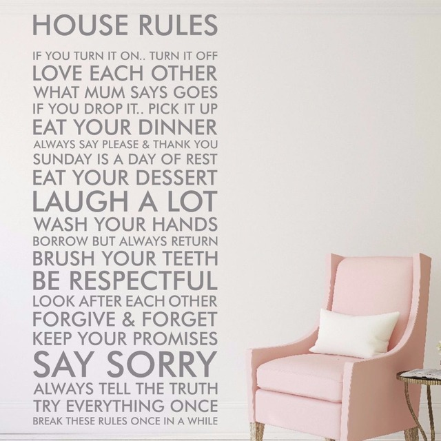 House Rules Vinyl Wall Art Sticker Quote Decal Funny Family Art