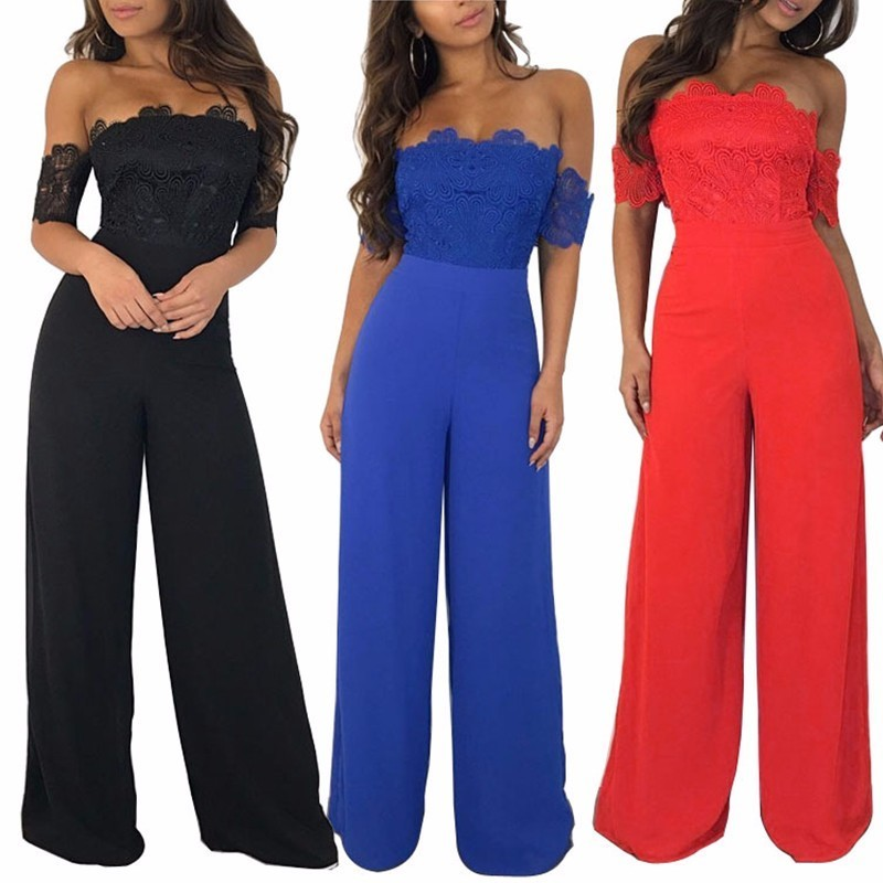 MUXU sexy black off shoulder Lace patchwork Wide Leg jumpsuit rompers womens jumpsuit body feminino combinaison femme jumpsuits in Jumpsuits from Women 39 s Clothing