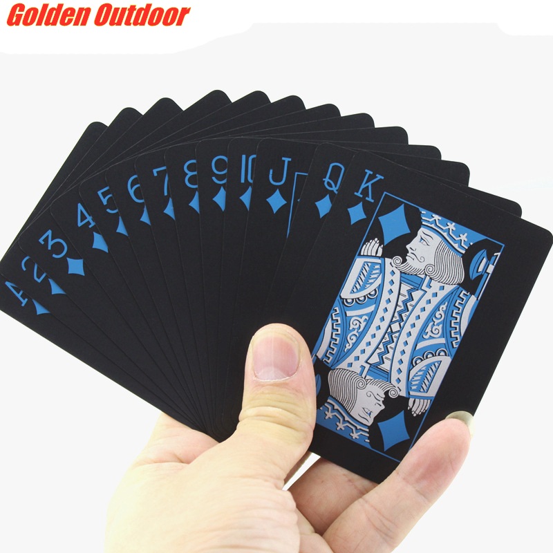 Quality Durable Playing Cards Waterproof PVC Plastic 54pcs Deck Poker Classic Magic Tricks Tool Pure Black Cool Gift Poker