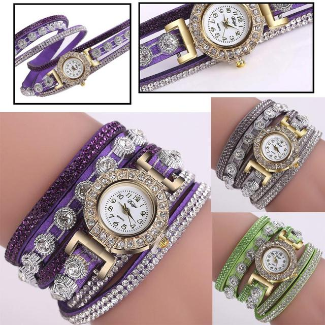 NewWomen Fashion Casual Analog Quartz Women Rhinestone Watch Bracelet Watch DP w