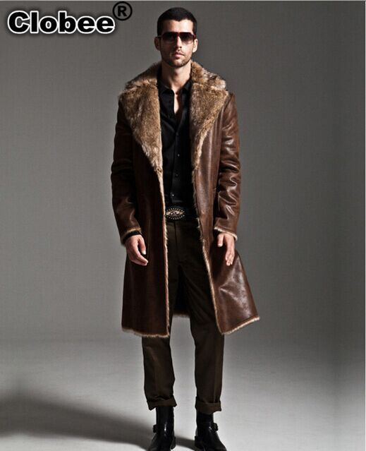 2017 Winter Men Coat Warm Long Design Double Breasted Mink Fur Outercoat Plus Size Casual Two-side Synthetic Leather 5XL X658