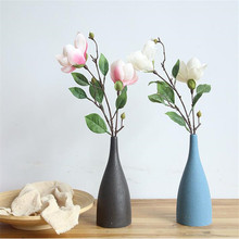Artificial flower single branch magnolia fake wedding home decor double head small flowers gifts