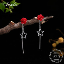 INALIS Flower Statement Drop Earrings Red Roses Carved Lacquerware with Silver Stars Aretes Orecchini Woman 925 Sterling Silver