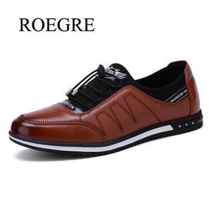 Image 1 - 2020 yeni erkek yüksek kaliteli nefes alan günlük ayakkabılar erkek rahat kaymaz deri ayakkabı adam hafif düz yürüyüş spor ayakkabı