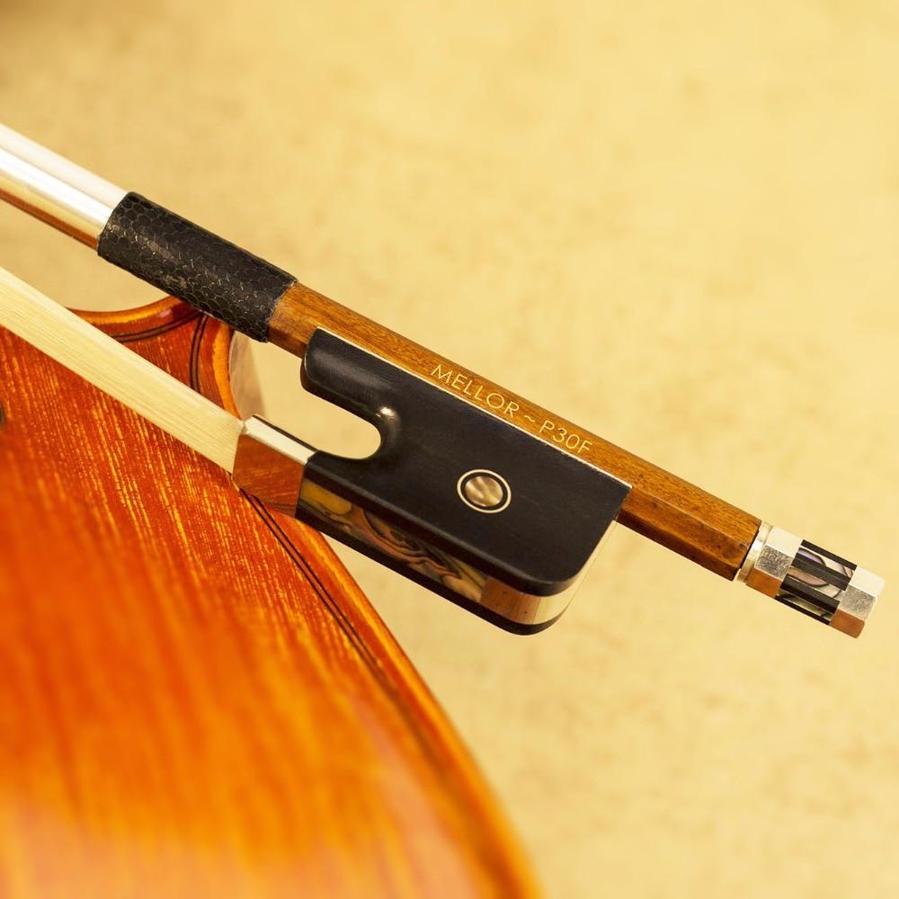 Pernambuco Francese Double Bass Bow 4/4 Formato Bianco Naturale Dei Capelli del Cavallo MELLOR Professionale P30F *** SPECIALE 50% OFFERTA ***