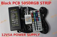 Flexible Black PCB version Waterproof 5050 RGB LED Strip 5M 300 Led SMD 44 Keys IR Remote Controller 12V 5A Power Adapter