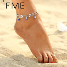 New Fashion Bohemian Turkish Eye Stone Pendant Beach Anklets Bracelets for Women Chains Foot Jewelry Summer Accessories