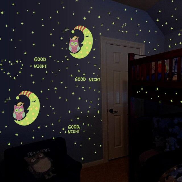 Luminous Sticks Owl Moon Stars Wallpaper Wall Stickers Children S Room Decoration Waterproof Self Adhesive