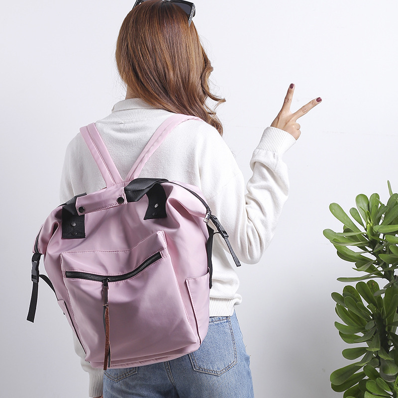 HTB1JShravfsK1RjSszgq6yXzpXaP Fashion Nylon Waterproof Backpack Women Large Capacity Schoolbags Casual Solid Color Travel Laptop Backpack Teen Girls Bookbags