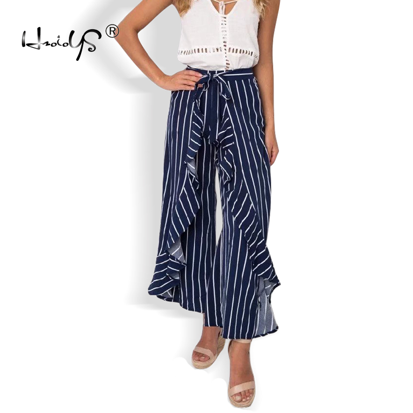 Ruffle chiffon casual   pants   women trousers Striped wide leg   pants     capri   2018 Autumn streetwear sash high waist   pants
