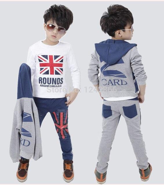 9f591d51f79bf Boys Girls Jeans Clothing Coat outerwear+t-shirt+pant sport suit 2015  autumn Children Kids three-piece Clothes union jack print