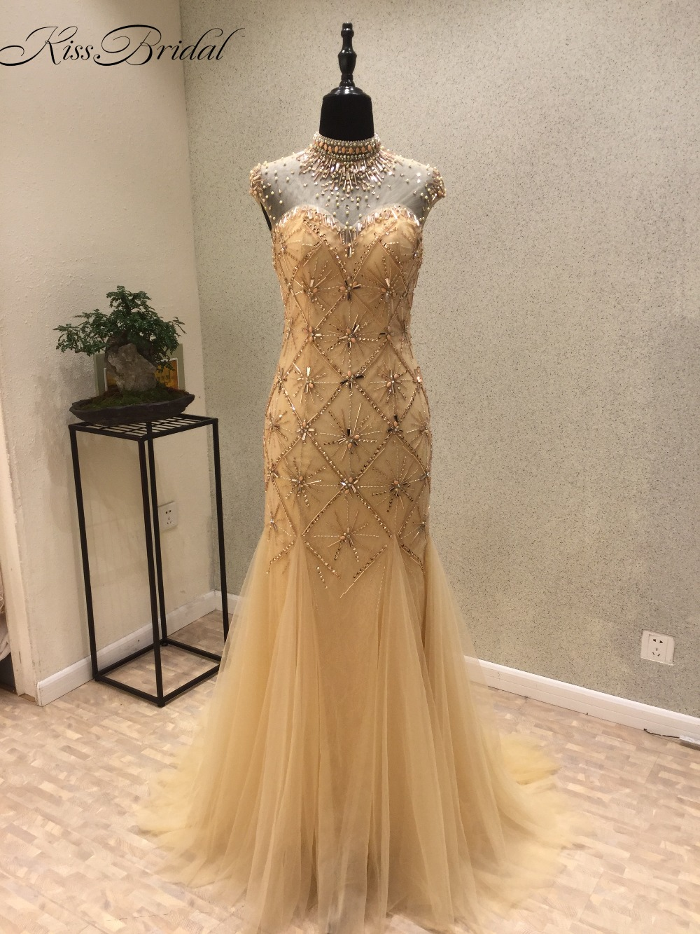 Vestidos de festa New Sexy   Prom     Dresses   2018 High Neck Sleeveless Floor Length Beading Tulle Mermaid Backless Evening   Dress