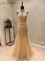 Vestidos de festa New Sexy Prom Dresses 2018 High Neck Sleeveless Floor Length Beading Tulle Mermaid Backless Evening Dress